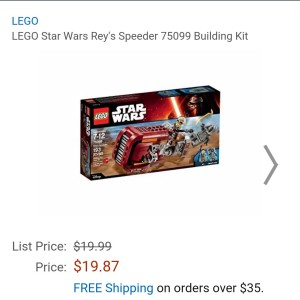 Image of the new Lego Star Wars Rey's Speeder lego set for sale at $19.87 on Amazon.