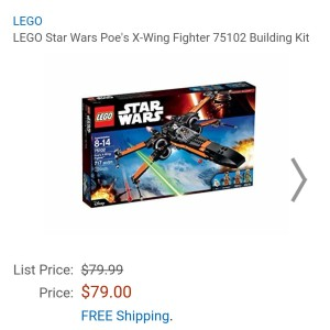 Image of the new Lego Star Wars Poe's X-wing fighter for sale at Amazon for $79.