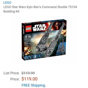 Image of the new Lego Star Wars Kylo Ren's command shuttle set for sale at Amazon for $119.