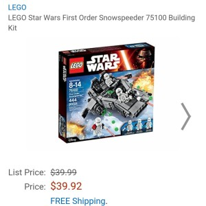Image of the new Lego Star Wars First Order snowspeeder available at Amazon for $39.92.